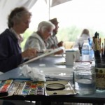 Watercolour in progress at the Art in the Woods workshop