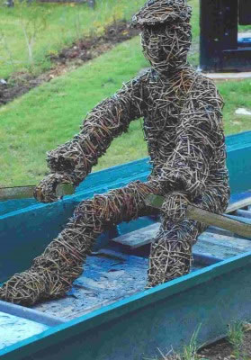 Rower sculpture made from willow